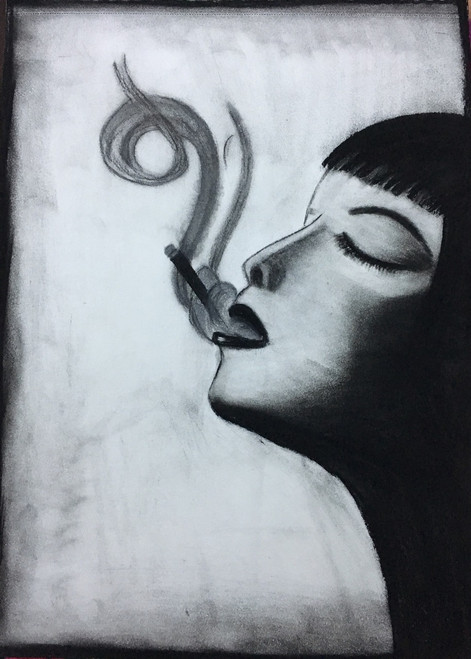 Lady, Smoke, Smoking, Charcoal,Beauty,ART_3171_21596,Artist : Pooja Singh Srivastava,Charcoal