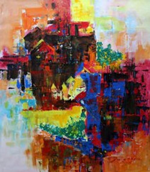 City scape,Silent City  ,ART_965_21567,Artist : Dwijen Bora,Acrylic