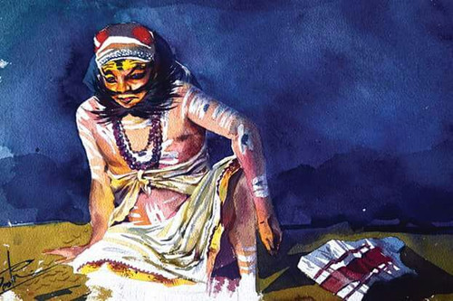 Kathakali, Kerala, Dance , Art ,Gift,Treditional dance form Kathakali dressing,ART_3154_21550,Artist : Rasheed P U,Water Colors