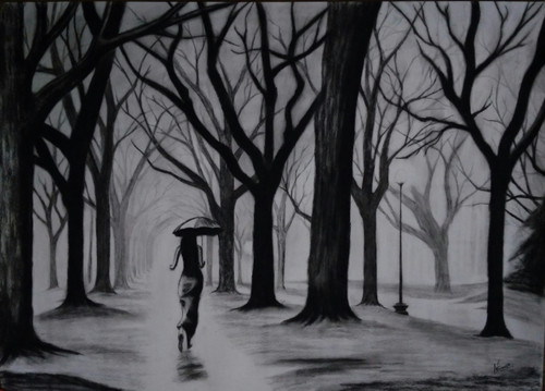 Dark Forest Painting,Dark Forest,ART_2819_21548,Artist : Nagendra Singh,Charcoal