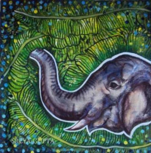 Gaja, elephant, Ganesha, Indian Art,Gaja 2,ART_1397_21501,Artist : Sreya Gupta,Acrylic