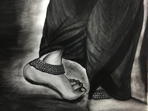 Indian, lady, payal, ghungroo, feet, legs, foot , charcoal,Ghungroo,ART_3171_21373,Artist : Pooja Singh Srivastava,Charcoal