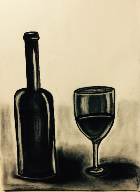 Vine glass, Vine bottle, charcoal, still life,A glass of wine,ART_3171_21289,Artist : Pooja Singh Srivastava,Charcoal