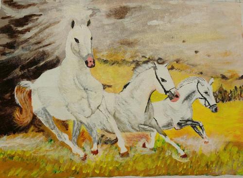Horses,Horses,ART_2743_21608,Artist : Dinesh Mathur,Acrylic
