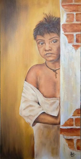 Child, Boy, Innocence,Poverty, Wall,Innocence,ART_3240_21591,Artist : Anita Choubey,Oil