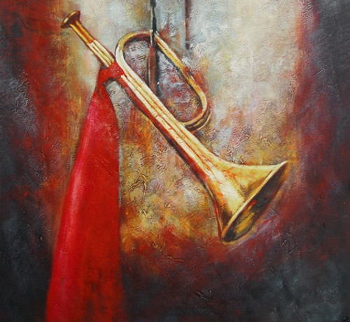 Trumpet01 - 32in X 32in,FIZ025MSC_3232,Yellow, Brown,80X80,Modern Art Art Canvas Painting