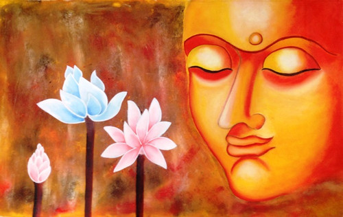 Buddha With Lotus - 35in x 21in,DISH5_3521,Rs.2990,Buddha Dehashri Singh Singh;Latest Collection;By Orientation and Size/Horizontal/Large (33in to 40in);Full Collection