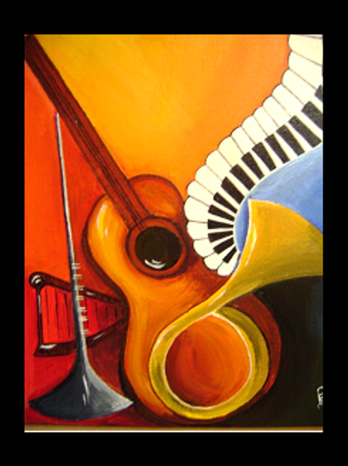 MUSICAL INSTRUMENTS (ART_1112_1333) - Handpainted Art Painting - 8in X 12in