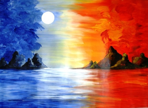 Moon Light - 29in X 21in,ART_PIJN56_2921,Acrylic Colors,Artist Pallavi Jain,Museum Quality - 100% Handpainted,Landscape,Moon light,Light relection on river,Beautiful Moon,moon night,Buy Paintings Online in India