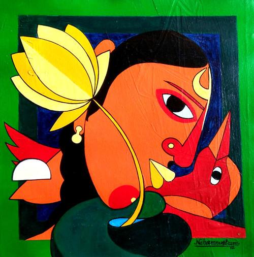 Feel life (ART_938_22522) - Handpainted Art Painting - 16in X 16in