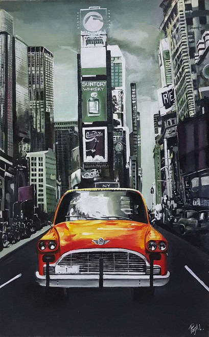 Car in the city (ART_3416_22688) - Handpainted Art Painting - 20in X 30in