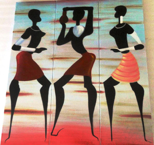 African Dance - 36in X 40in (12in X 40in each X 3 Pcs.),ART_PIJN58_3640,Acrylic Colors,Artist Pallavi Jain,Museum Quality - 100% Handpainted,Figurative,Dancing,Dance of Passion,African dacers,Buy Paintings Online in India