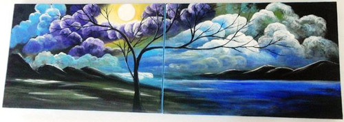 Moon Light - 48in X 16in ( 24in X 16in X 2pcs),ART_PIJN61_4816,Multipiece,Acrylic Colors,Artist Pallavi Jain,Museum Quality - 100% Handpainted,Moon Night,Blue Tree art,Light of beautiful Moon,Buy Paintings Online in India