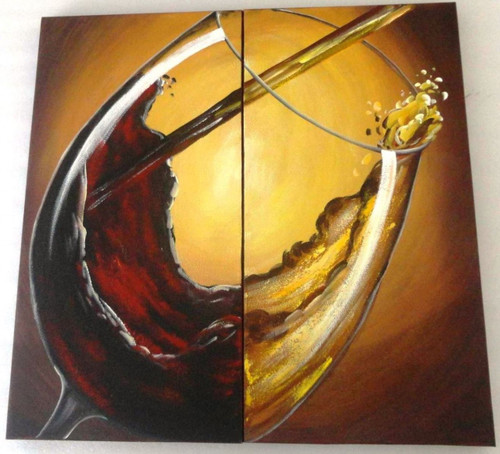 Wine Sea  - 32in X 32in (16in X 32in X 2pcs),ART_PIJN62_3232,Multipiece,Acrylic Colors,Artist Pallavi Jain,Museum Quality - 100% Handpainted,Wine Glass,Wine Sea,Buy Paintings Online in India