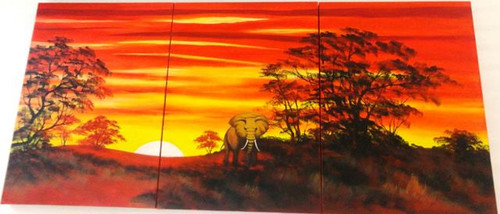 Jungle Safari - 60in X 28in (20in X 28in X 3pcs),ART_PIJN64_6028,Multipiece,Acrylic Colors,Artist Pallavi Jain,Museum Quality - 100% Handpainted,Jungle,Elephant ride,Wild Safari,Buy Paintings Online in India
