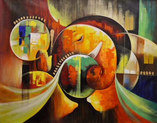 Abstract Ganesh Vandana (FR_1523_23802) - Handpainted Art Painting - 40in X 32in