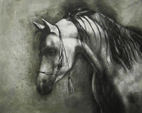 Achiever - 40in X 30in,FIZ027HRS_4030,Black, Dark Shades,100X75,Animals,Horse,Winner horses,rider, Art Canvas Painting