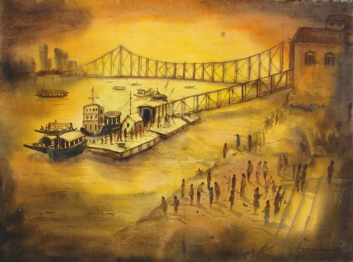 Howrah Bridge The Heritage of Kolkata (ART_2874_24376) - Handpainted Art Painting - 30in X 22in