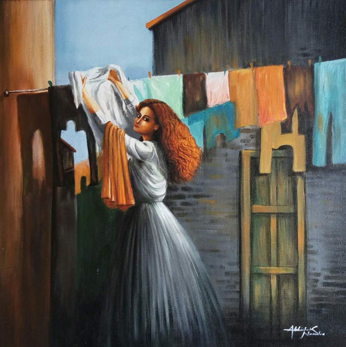 Drying clothes (ART_3512_24412) - Handpainted Art Painting - 24in X 24in (Framed)