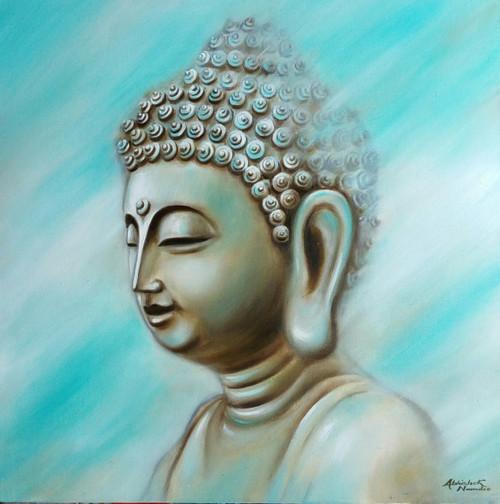 Buddha (ART_3512_23089) - Handpainted Art Painting - 24in X 24in (Framed)