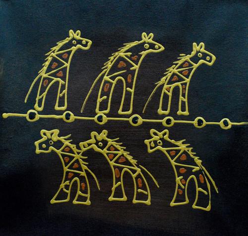 Golden Giraf (FR_1523_24106) - Handpainted Art Painting - 13in X 13in