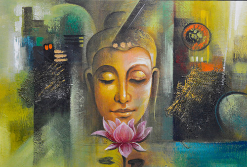 Buddha and Lotus (FR_1523_24156) - Handpainted Art Painting - 36in X 24in