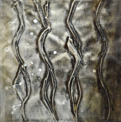 Abstract Silver Waves (FR_1523_24146) - Handpainted Art Painting - 16in X 16in (Framed)