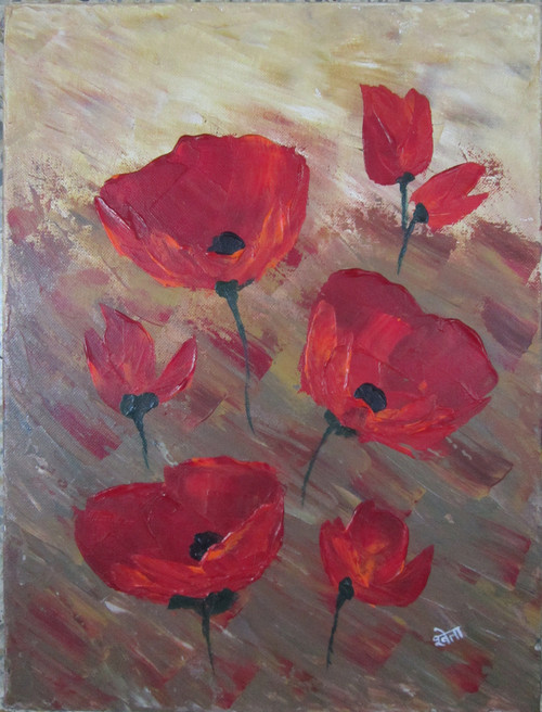 Floral red (ART_3971_24946) - Handpainted Art Painting - 12in X 16in (Framed)