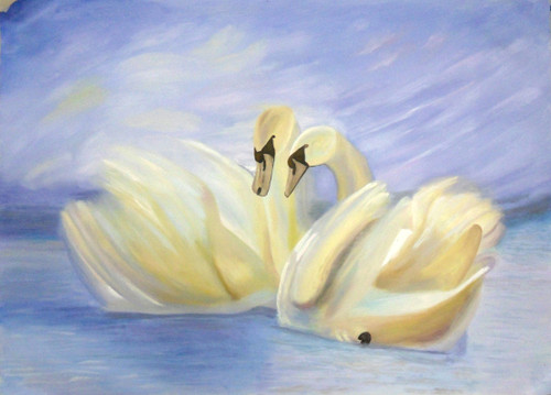 Swan - 36in X 24in,71Swan05_3624,Blue, Violet, Mauve,90X60 Size,Bird,Swan couple,Swan Pair,Art Canvas Painting