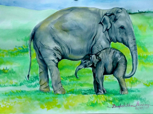 Baby elephant with his mum (ART_4099_25470) - Handpainted Art Painting - 17in X 12in