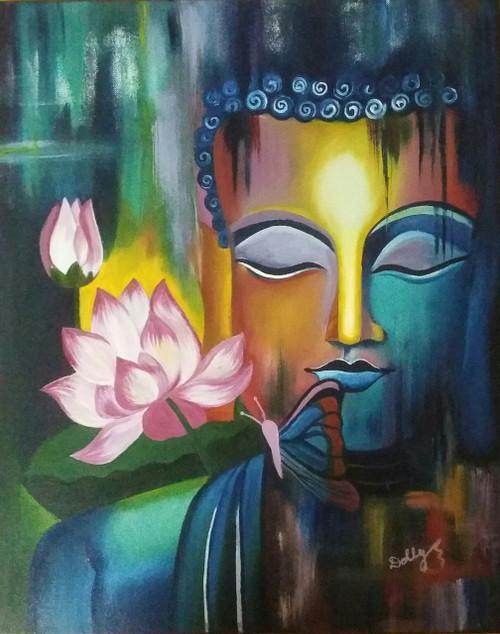 Meditating Buddha (ART_3960_25425) - Handpainted Art Painting - 16in X 20in (Framed)
