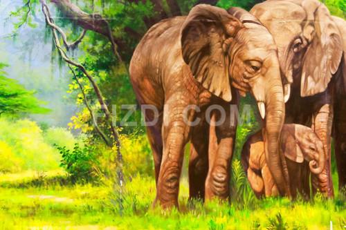 Family Of Elephants (PRT_4) - Canvas Art Print - 29in X 20in