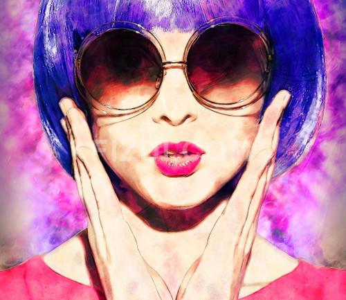 Pop Art Woman (PRT_33) - Canvas Art Print - 24in X 21in