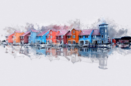 Colourful Buildings On Water (PRT_82) - Canvas Art Print - 32in X 21in