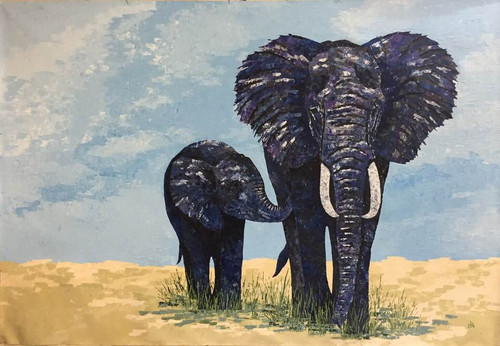 Ma and baby elephant (ART_1000_26528) - Handpainted Art Painting - 70in X 48in