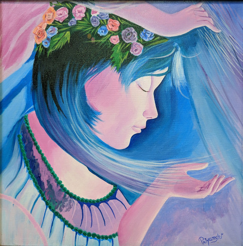 The Girl of Dreams (ART_4265_26639) - Handpainted Art Painting - 20in X 20in (Framed)