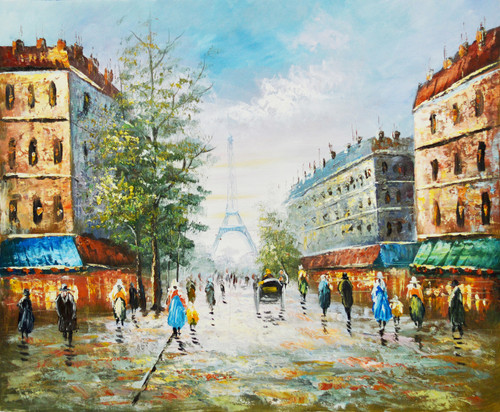 Rainy day at Eiffel Tower (FR_1523_23827) - Handpainted Art Painting - 24in X 20in