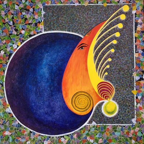 Ganadhish (ART_4306_26492) - Handpainted Art Painting - 34in X 34in