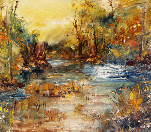 River In The Forest (PRT_165) - Canvas Art Print - 24in X 21in