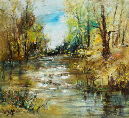 Trees By The River (PRT_171) - Canvas Art Print - 23in X 21in