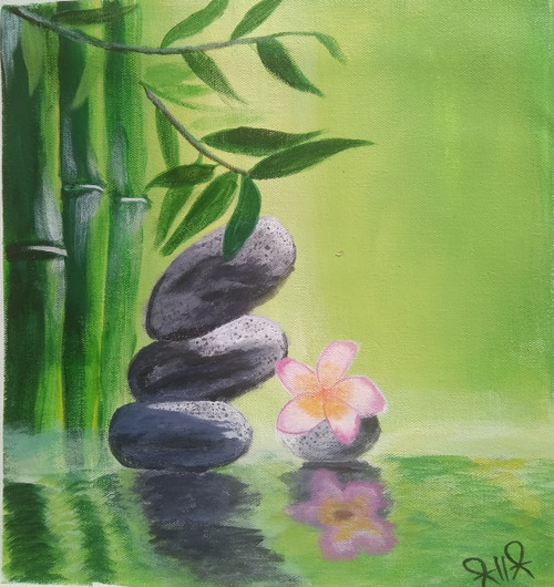 Bamboos with stones (ART_4112_26785) - Handpainted Art Painting - 14in X 14in