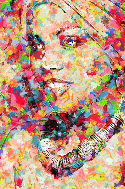 Colourful Afro American Woman (PRT_192) - Canvas Art Print - 21in X 32in