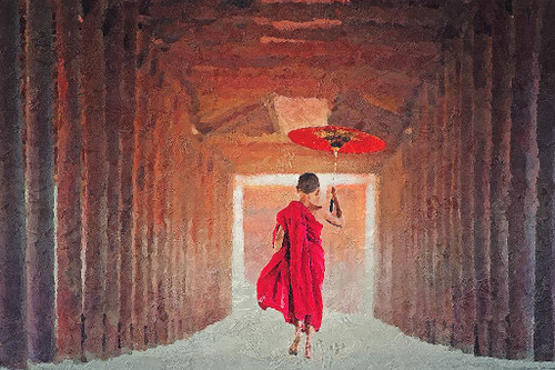 Monk With Umbrella (PRT_244) - Canvas Art Print - 21in X 14in
