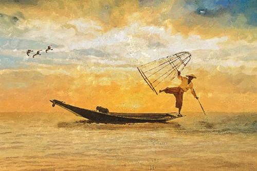 Fisherman (PRT_252) - Canvas Art Print - 32in X 21in