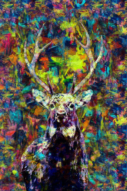 Deer (PRT_265) - Canvas Art Print - 17in X 26in
