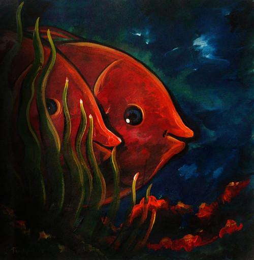 Orange Lovers in the blue sea (ART_4264_26187) - Handpainted Art Painting - 9in X 9in