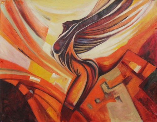 Modern201 - 32in X 24in,Modern201_3224,Oil Colors,Canvas,Lady,Women,Brown Background,Yellow, Brown,80X60 Size,Modern Art Art Canvas Painting Buy canvas art painting online for sale by fizdi.com in India.