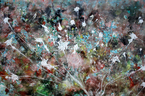 Unpredictability: flowers stars and shine (ART_1036_27357) - Handpainted Art Painting - 44in X 24in