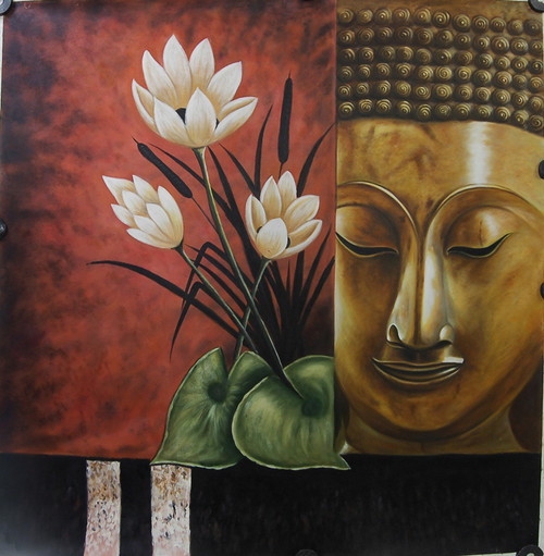 Buddha01 - 40in X 40in,FIZ007FGR_4040,Red, Pink, Orange,100X100,Buddha Art Canvas Painting