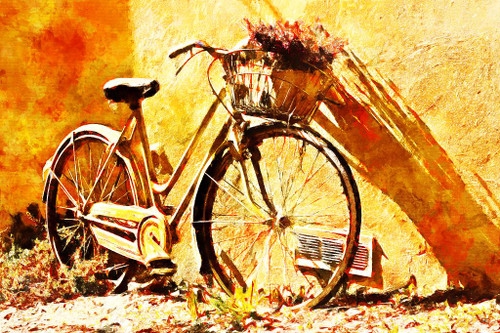 Bicycle With Flowers (PRT_381) - Canvas Art Print - 28in X 19in